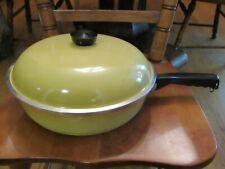 """Vtg Club 12"""" Aluminum Skillet Frying Pan Cookware Self Basting Lid Harvest Gold"""