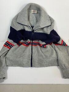 VTG 70s LOOMTOGS Tennis Whites Full Zip Jacket Red Blue Gray Medium M Women