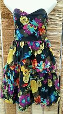 RIVER ISLAND BNWT Floral Strapless Boned Dress Size 12 RRP £54.99