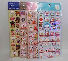 Lot of 4 Japanese Maneki Neko Traditional Fortune Lucky Cat 3D Puffy Sticker