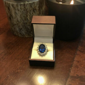 3.48 Ct Real Diamond Blue Sapphire Bridal Ring 14K Solid White Gold Size 5 6 7 8