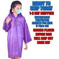 Kids Rain Coat Poncho Waterproof Emergency Raincoat Protective USA Seller Purple