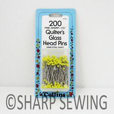 """COLLINS QUILTERS GLASS HEAD PINS 1 3/8"""" 200 EACH - YELLOW # C106 106"""