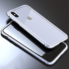 Heavy Duty Magnetic Bumper Tempered Glass Case Back Cover for Phone X 6 8 7 Plus