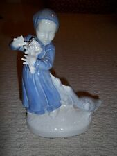 Antique, Vintage HOLLAND MOLD Porcelain Dutch Girl & Geese/Ducks, 9 Inches Tall