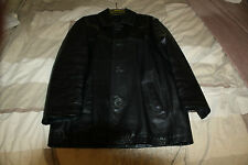 MENS NEXT LEATHER JACKET -  SIZE MEDIUM - BLACK