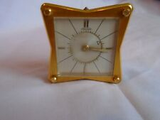 VINTAGE JAEGER SQUARE MINIATURE 8 DAY DESK / ALARM CLOCK IN GOOD WORKING ORDER