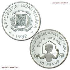 MORUZZI - Dominican Republic 10 PESOS 1982 (124352) Year of the Child SILVER