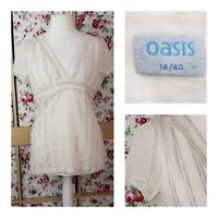 Size 12/14 Oasis Cami & Tunic Top Cream with Silver Stripes Cotton Blend Party