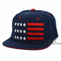 USA American Flag hat Stars & Stripes Snapback Flat bill Baseball cap- Navy Blue