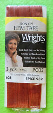"3yd Iron-On Hem Tape 1/2"" Wide Spice Brown 100% Polyester Wrights PC05-932 New"