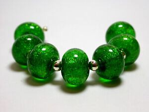 VictoriaGail Lampworked Beads- Emerald Sm