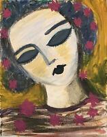 "Acrylic Painting Portrait of a Girl Canvas Contemporary Art Original 8 x 10"""