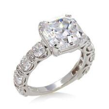 Jean Dousset 7.66ctw Absolute Asscher-cut Solitaire Sterling Ring Size 9 HSN $99