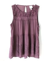 Knox Rose Women'sPurple Mauve Sleeveless Top Blouse Lace Yoke Boho Size XL