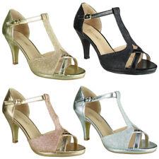 Womens High Heel Peeptoe Glitter Party T-Bar Bridesmaid Wedding Bride Shoes Size