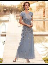 Joanna Hope Beaded Smokey Blue Maxi Dress Size 12