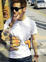 Men 3D Big Hand Print Round Neck Short Sleeve White T-Shirt Summer Tee Top