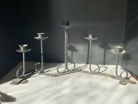 Vintage Mid Century 5 Light Metal Expandable Candle Holder