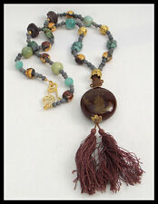 ViNTAGE ASIA - Vintage Tassled Handcarved Pendant - Mixed Beads Long Necklace