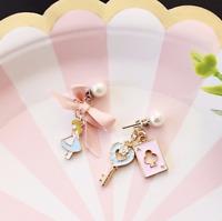 E489 Betsey Johnson Fairy Tale Rabbit Peter Alice In Wonderland Ribbon Earrings