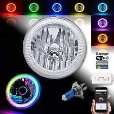 "1) 7"" Bluetooth RGB SMD LED Color Chasing Halo Shift Angel Eye H4 Headlight Each"