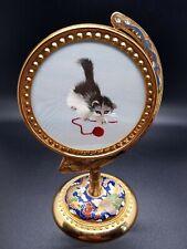 Vtg Chinese Suzhou Su Silk Embroidery Under Glass Cloisonne Brass Enamel Stand