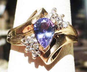 10k Violet Montana Sapphire and diamond STUNNING CLASSY LOVE cocktail ring Sz.7