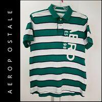 Aeropostale Men's Short Sleeve Stripe Polo Shirts With Logo Size Large Green