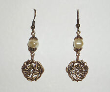 ART NOUVEAU STYLE LEAF AND CREAM PEARL EARRINGS DARK GOLD PLATED HOOK
