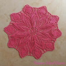"Coral Pink Flower Round Crochet Table Dresser Center Doily 13"" 100% Cotton"