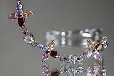 Pretty 4 Leaves Created Diamond and Quartz Bracelet 18 -21cm / Adjustable