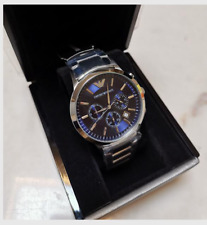 EMPORIO ARMAN1 AR2448 MENS WATCH BLUE DIAL STAINLESS STEEL WATCH ORIGINAL BOX