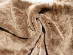 sheepskin shearling leather hide Coyote Brown wavy silky hair w/ smooth back