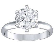 0.85 ct round cut 14K white gold diamond engagement ring D VS1 CERTIFIED