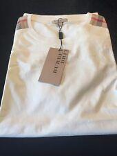 New Burberry White Patch Shoulder Nova Check Plaid Men T-shirt S / XS $225