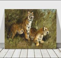 GEZA VASTAGH - Tigers in the Grass - CANVAS ART PRINT POSTER - 18x12""