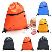 Waterproof Cinch Sack Backpack Drawstring Rope Gym Sports Shoes Bags Tote Pack