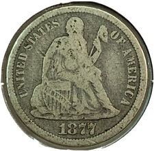 1877 CC Silver Seated Liberty Dime 10¢ Cent US Coin CR793