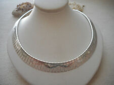 Italian Sterling Silver Laser Cut Design Segmented Collar Necklace   RE6329