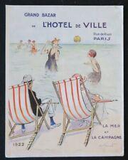 Couverture CATALOGUE BAZAR DE L'HOTEL DE VILLE MER 1922