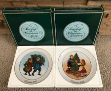 Avon Christmas Collector Plates 1981 & 1982 22k Gold Trimmed Limited Edition