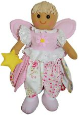 Fairy Rag Doll by Powell Craft Pink Petal Floral Dress Wings & Wand Large 40cm
