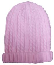 Pink Cable Knit Baggie Beanie Hat New One Size
