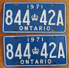 Ontario 1971 License Plate PAIR # 844 42A