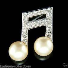 w Swarovski Crystal ~MUSIC musical NOTE~ Semiquaver Melody Pearl Pin Brooch Xmas