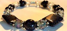 new blue gold stone sandstone quartz gemstone healing bracelet elasticated