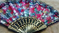 New Hand Held Fan Foldable Cloth Multicolor Pink Black floral print