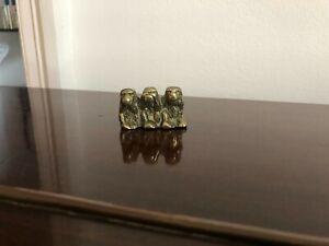 VINTAGE SMALL CAST BRASS THREE 3 WISE MONKEYS FIGURE FIGURINE