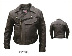 SUPER SALE BLACK MENS VENTED 1PC BUFFALO LEATHER CYCLE JACKET FULL ZIP OUT